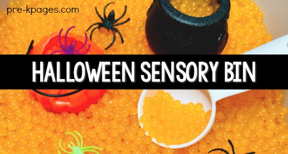 Halloween Sensory Bin Idea with Water Beads