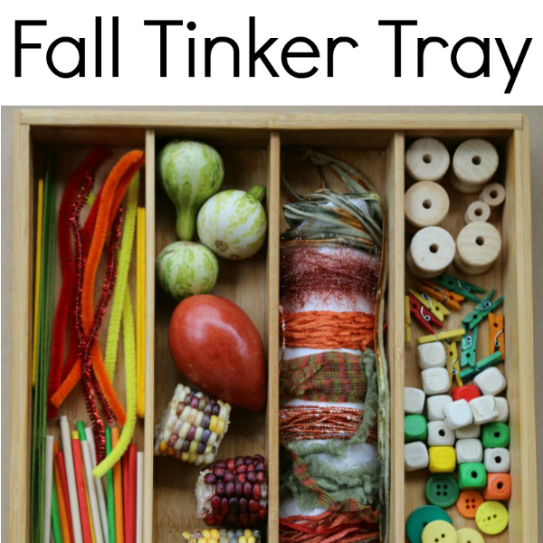 fall tinker tray pre-k