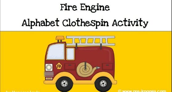 Fire Engine Alphabet Clothespin Matching