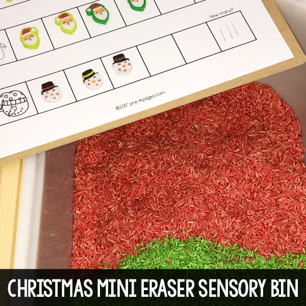 Christmas Mini Eraser Sensory Bin Search and Find Printable