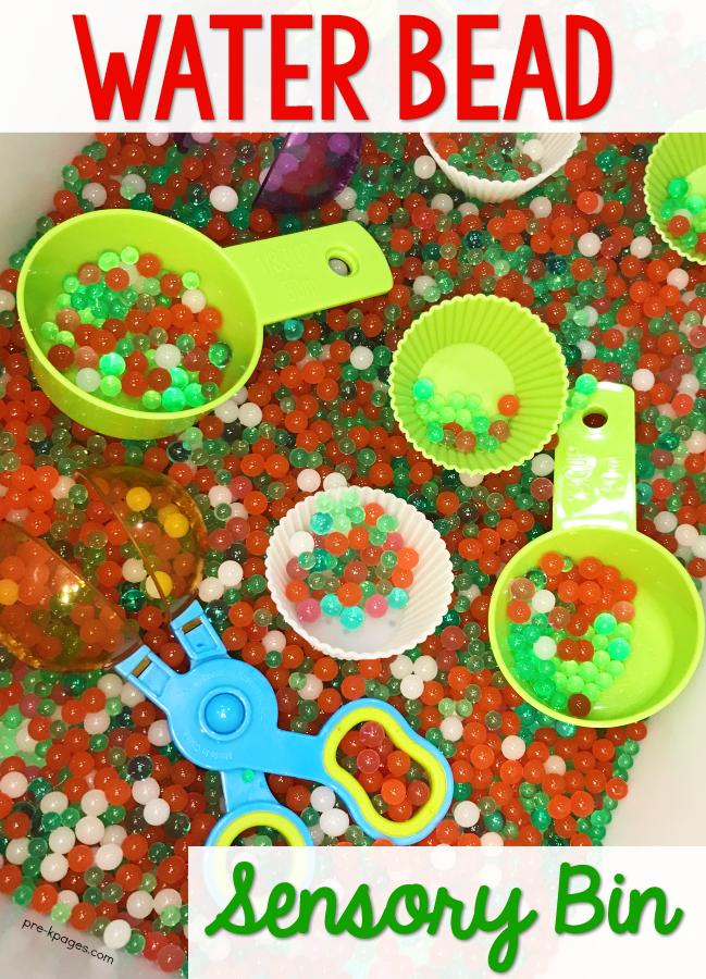 Christmas Water Bead Sensory Bin for Preschool