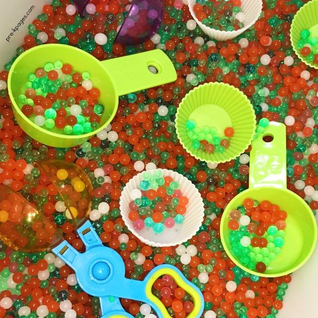 Christmas Water Beads in the Sensory Bin with Preschoolers