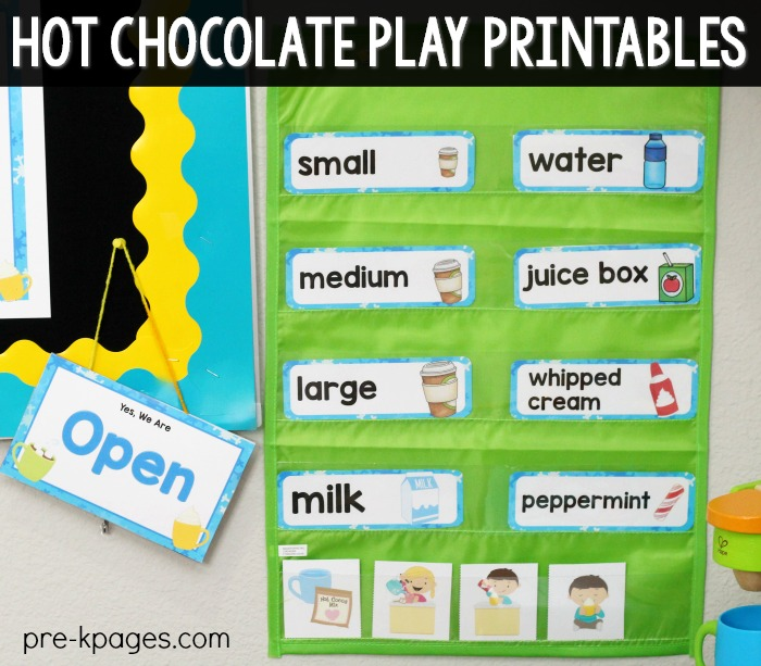 Hot Chocolate Dramatic Play Kit Word Cards