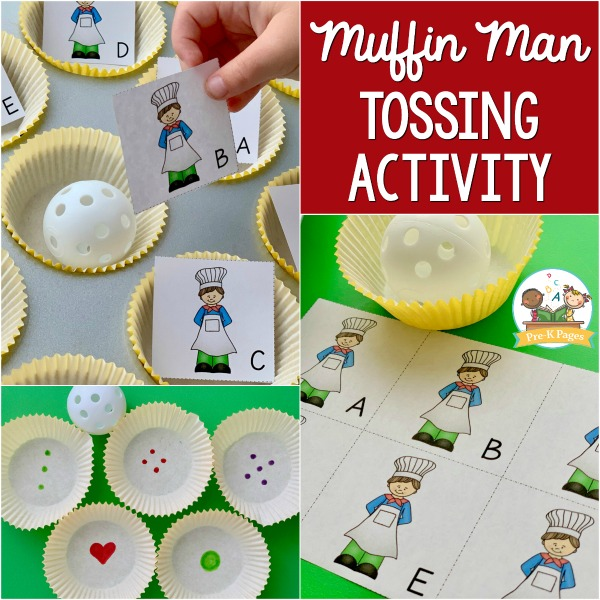 Muffin Man Tossing activity pre-k