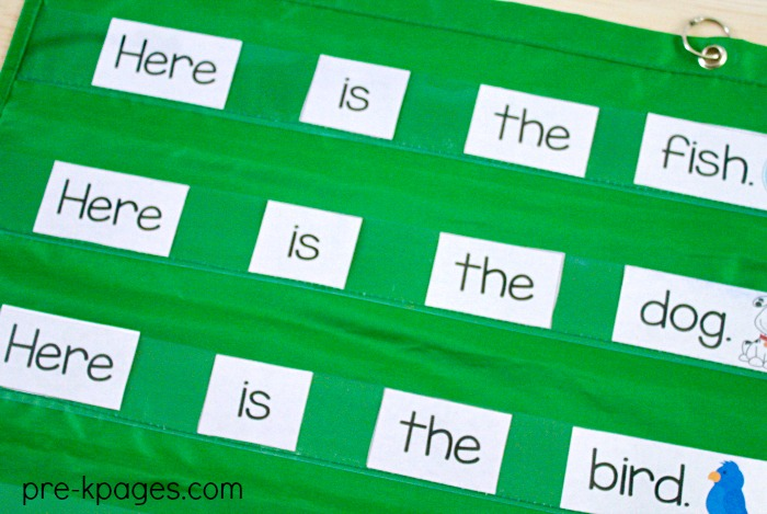 Pet Theme Printable Pocket Chart Sentences for Emergent Readers in Preschool and Kindergarten