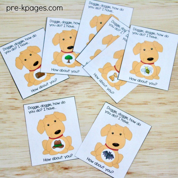 Pet Theme Printable Rhyming Game for Preschool