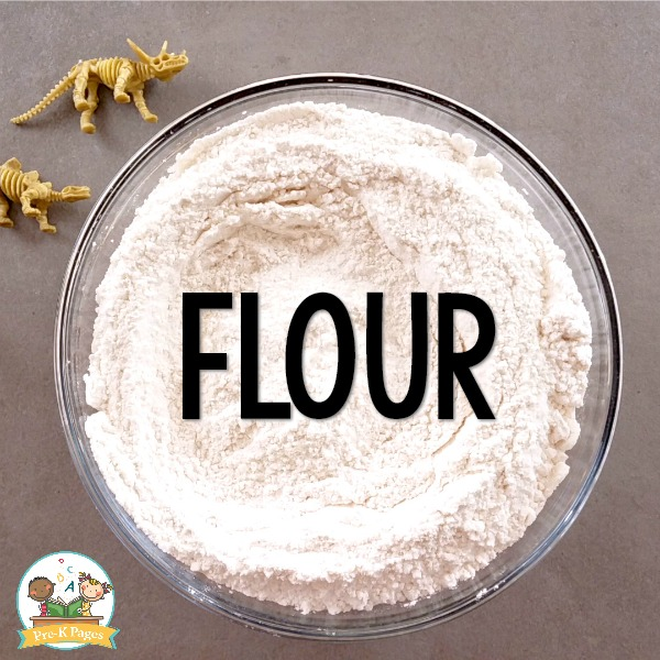 bowl of flour and salt for dinosaur fossil salt dough