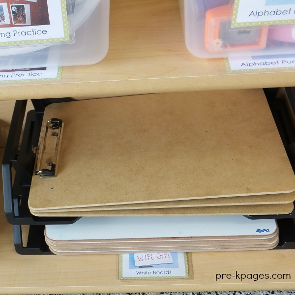 Clipboards in the Preschool Writing Center