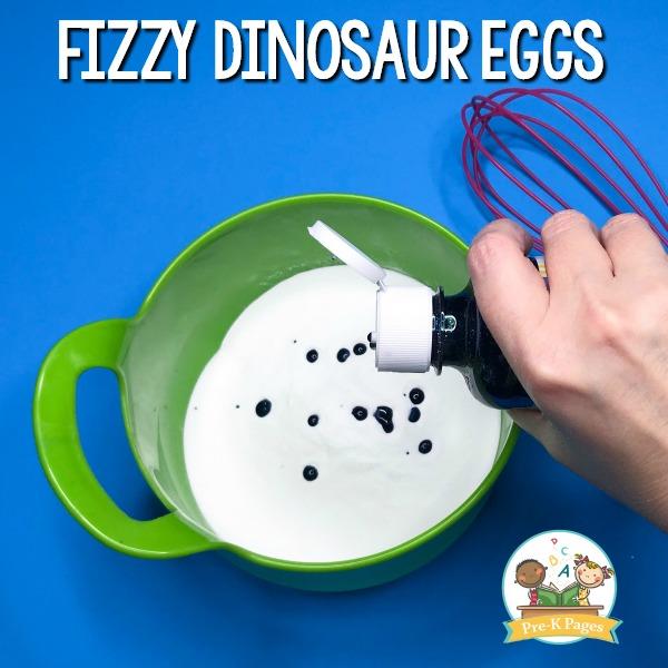 food coloring added to bowl for dinosaur egg experiment