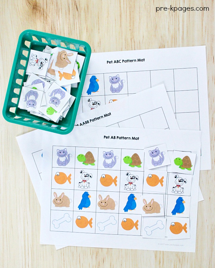 Pet Theme Patterning Activity for Preschool