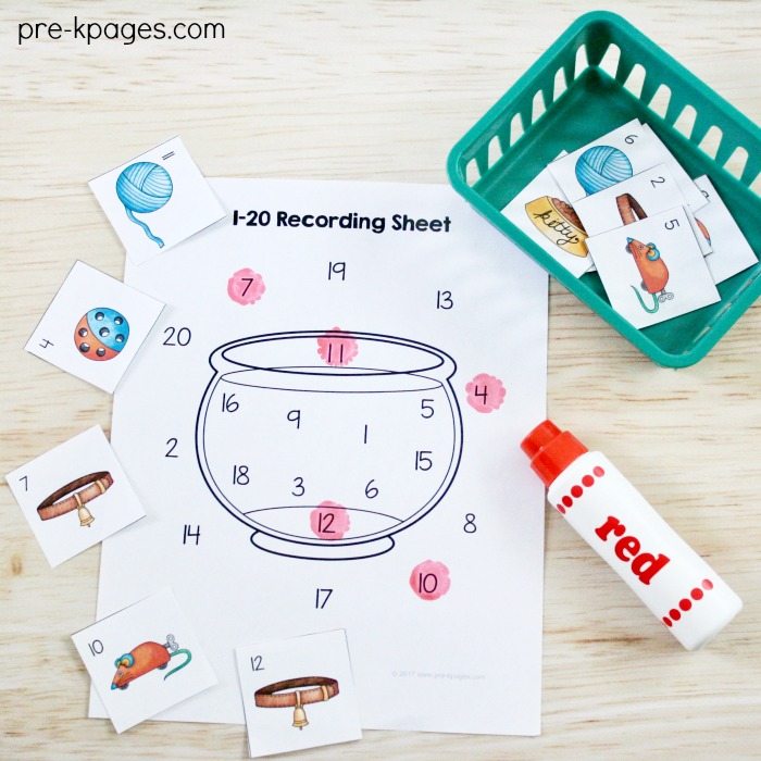 Printable Pet Theme Number Game for Preschool