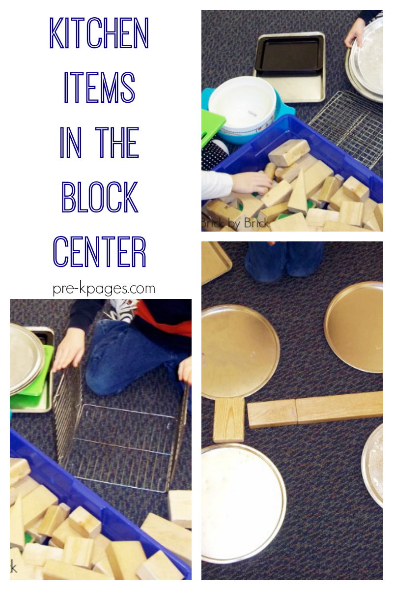 kitchen items in the block center pre-k