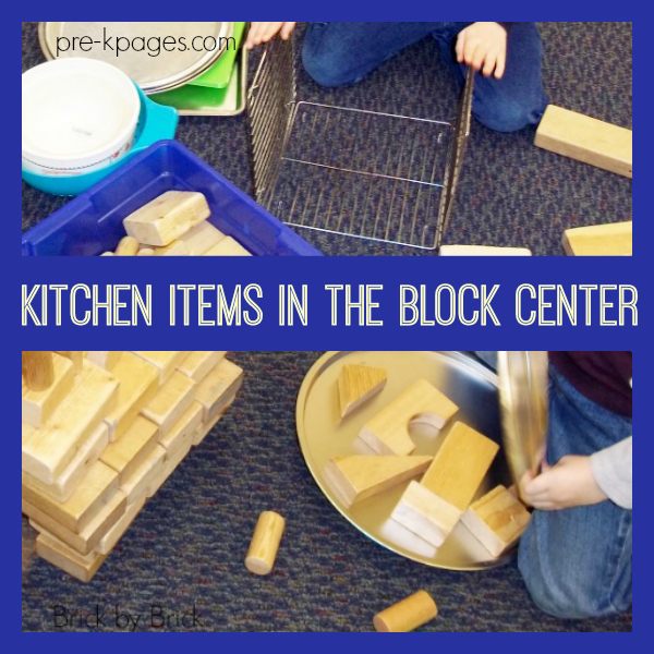 kitchen pans in blocks for preschool