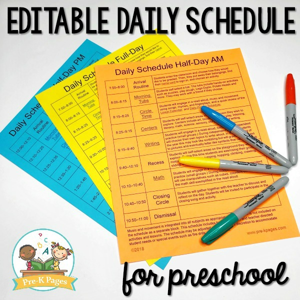 editable daily schedule for preschool