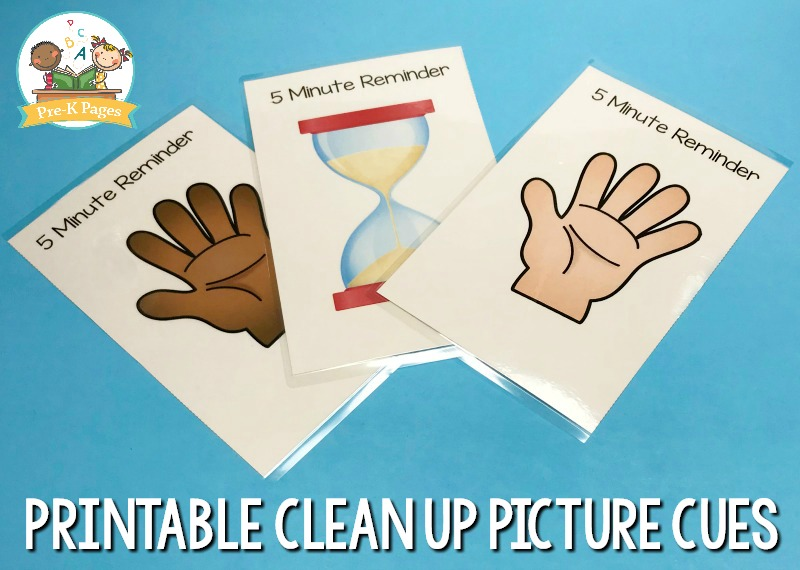 Five Minute Warning Signs for Preschool Clean Up