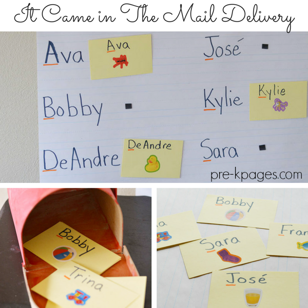 literacy mail names post office activity preschool