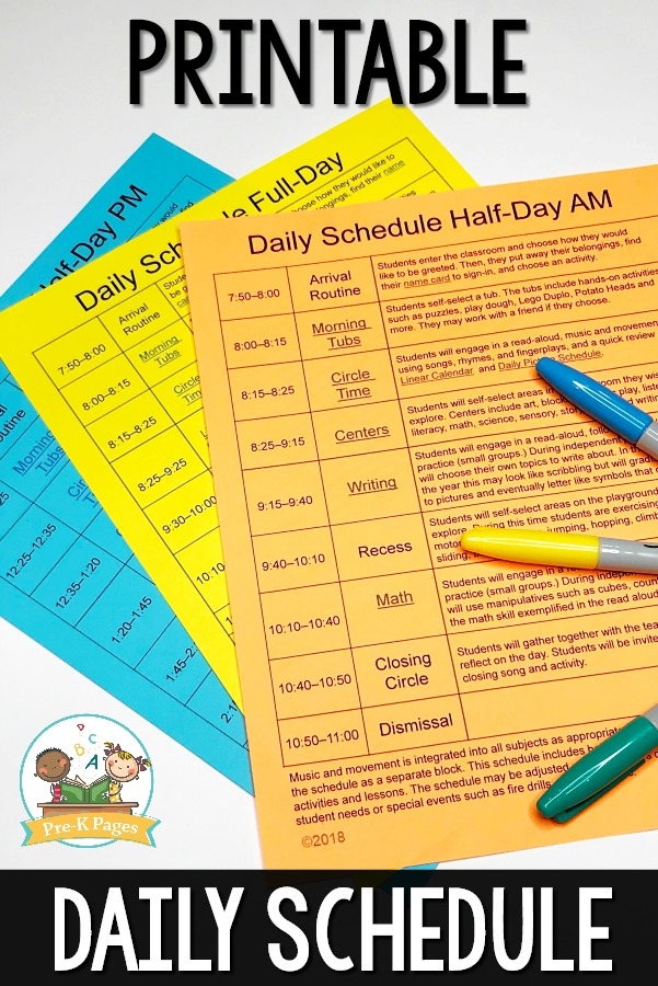 Preschool Daily Schedule Template