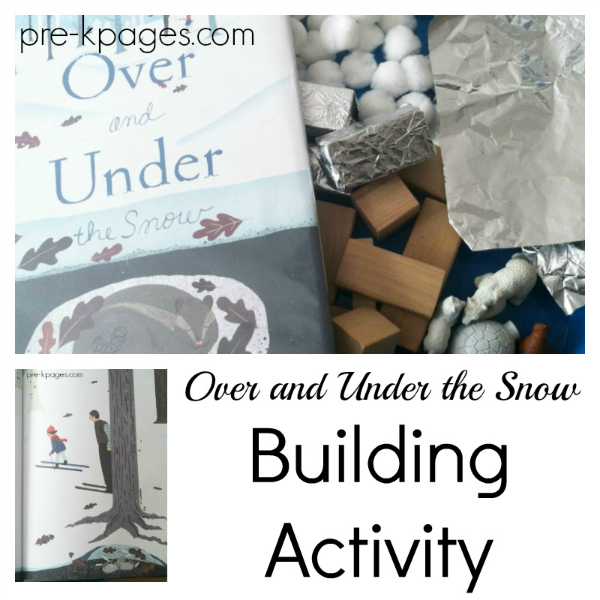 over and under snow book activity kindergarten