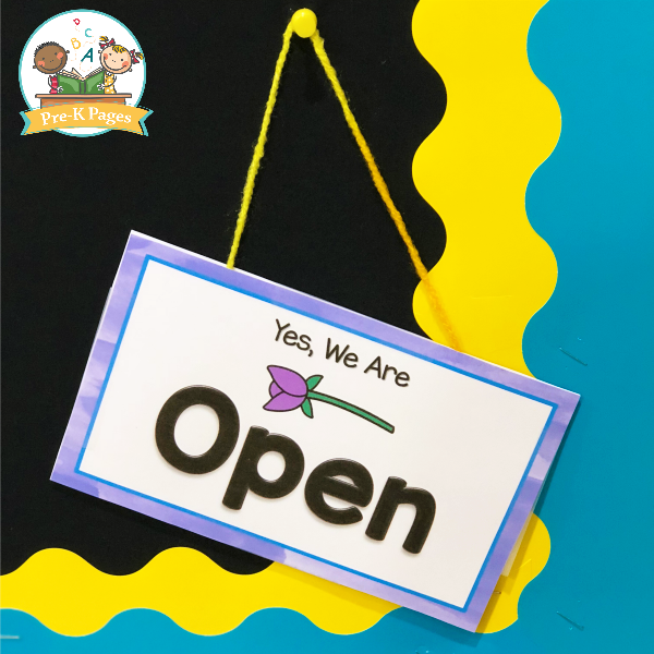 Flower Shop Dramatic Play Open Sign