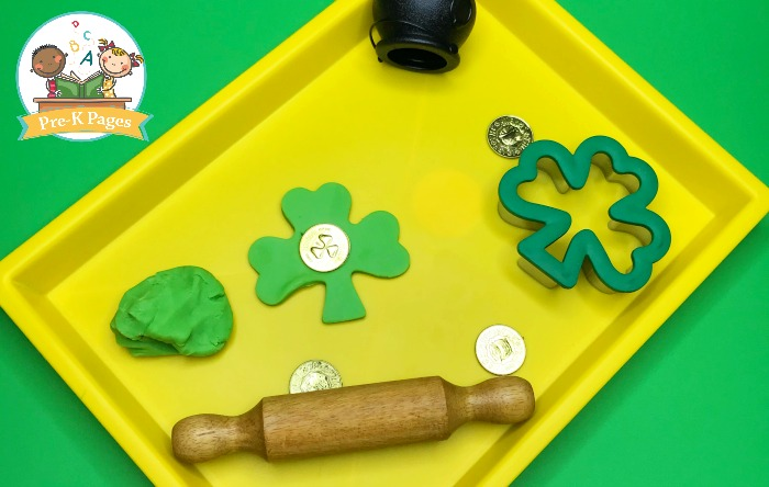 Gold Coins in Green Play Dough