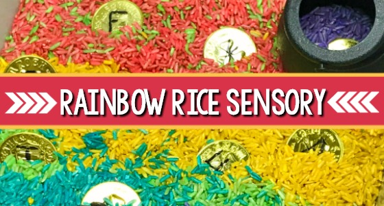 Rainbow Rice Sensory Bin for preschool