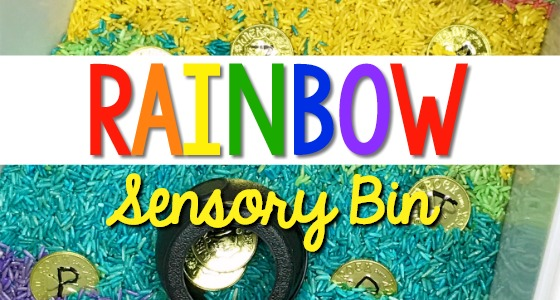 Rainbow Sensory Bin with Rice