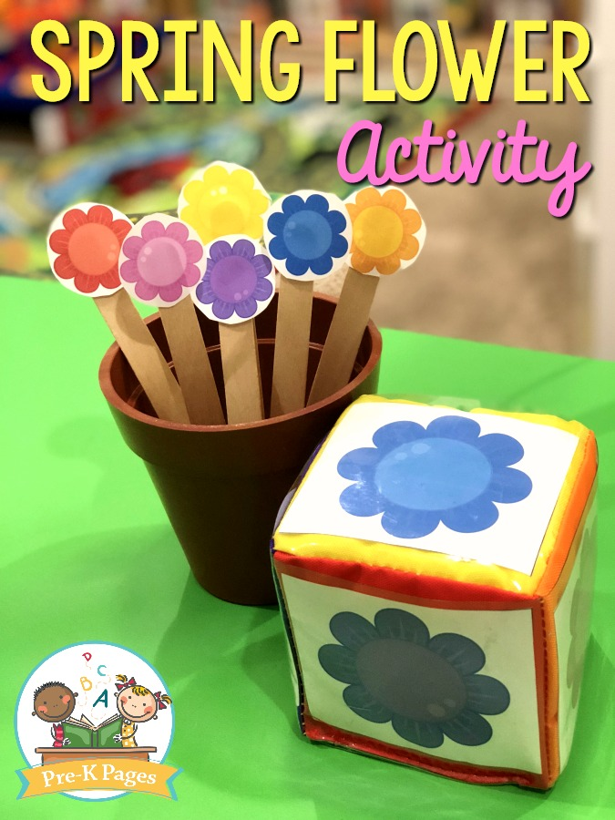 Spring Flower Color Activity for Toddlers