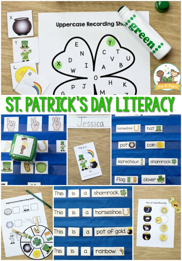 St. Patrick's Day Literacy Printables for Preschool