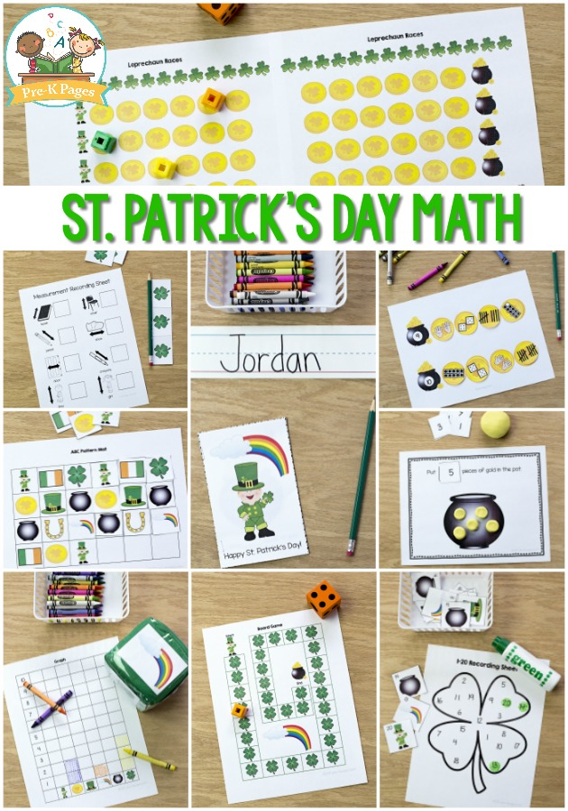 St. Patrick's Day Math Printables for Preschool