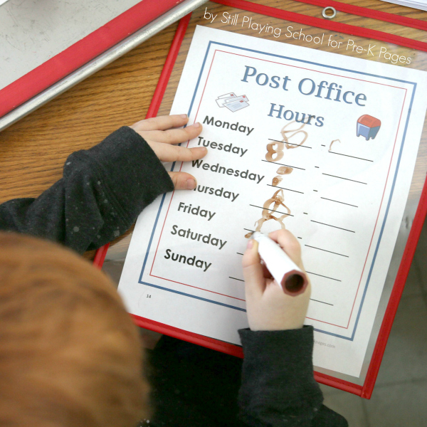 post office dramatic play kindergarten