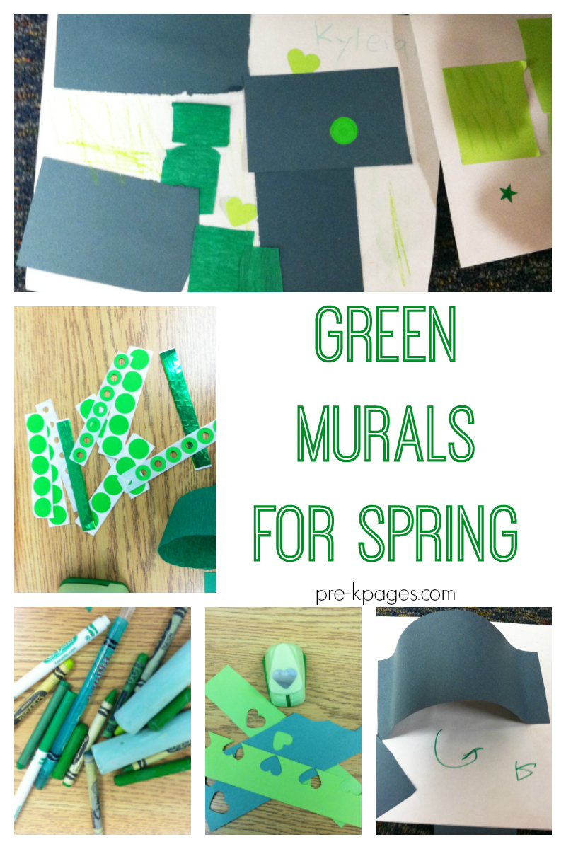 spring green murals for preschool