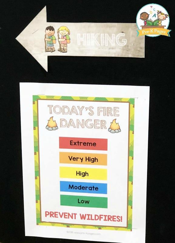 Camping Fire Danger Printable Sign for Pretend Play