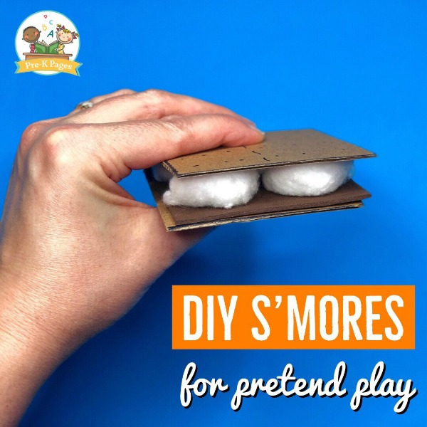 Pretend Smores for Camping Theme in Preschool