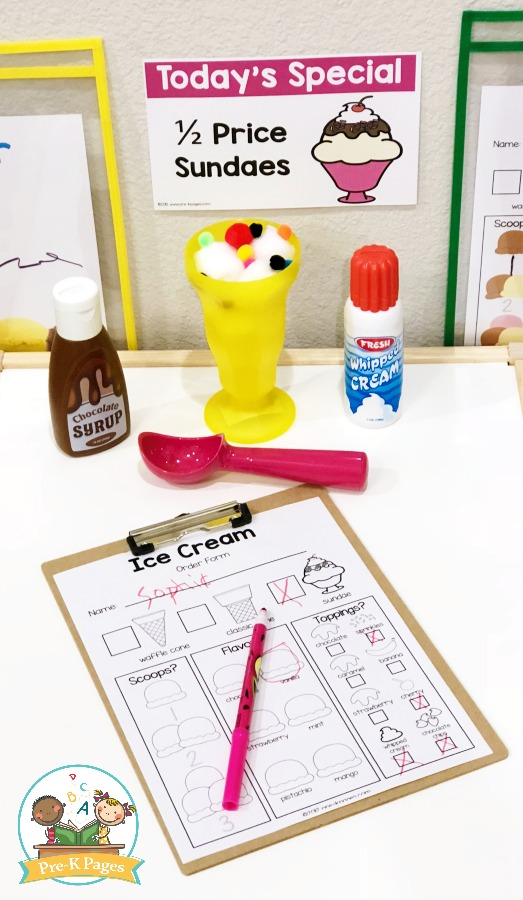 Black and White Ice Cream Shop Order Form