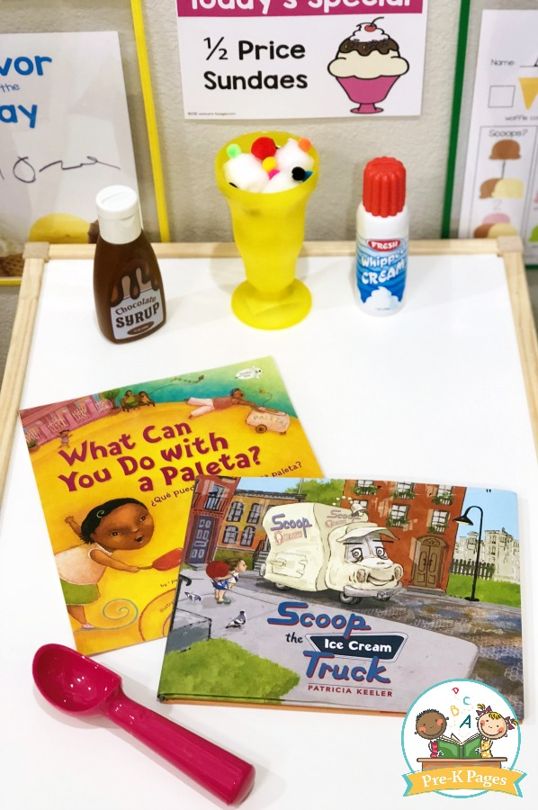 Books About Ice Cream in the Dramatic Play Center