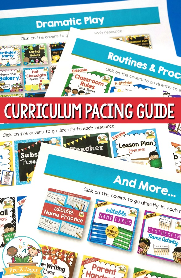 Curriculum Pacing Guide for Preschool Classroom