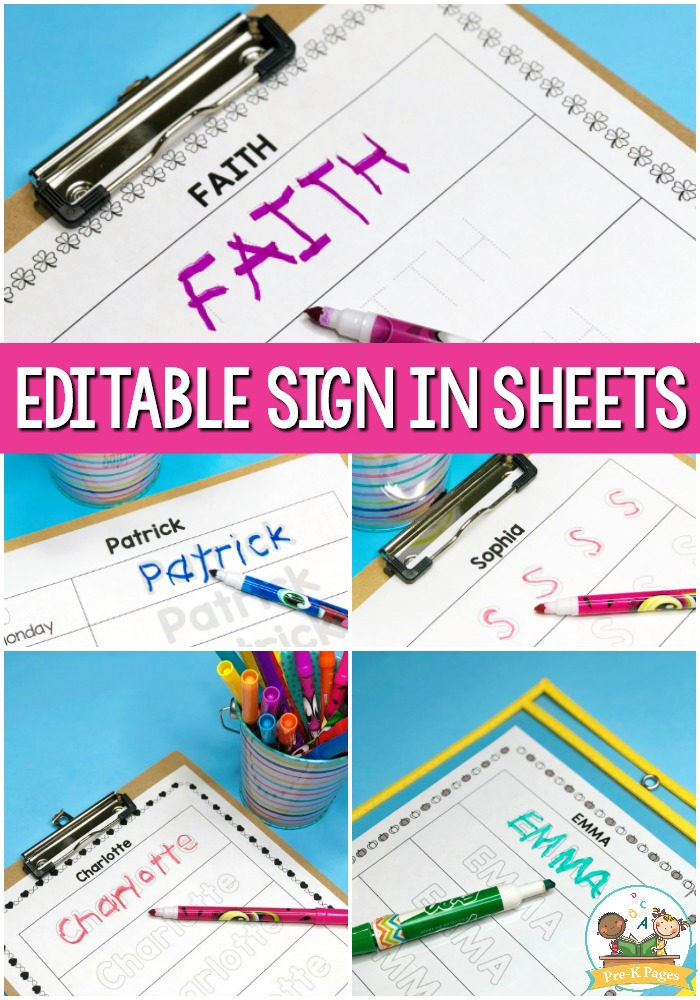 Editable Sign In Sheets for the Classroom