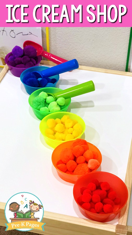 Pom Poms in Colored Bowls for Ice Cream Play
