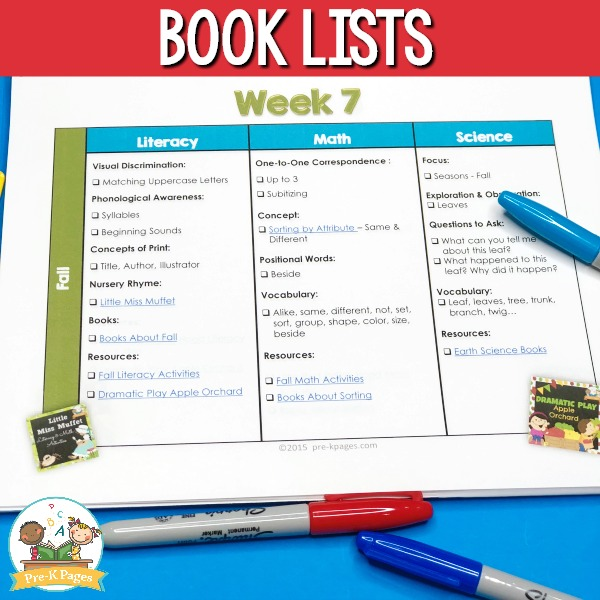 Preschool Curriculum Pacing Guide Book Lists