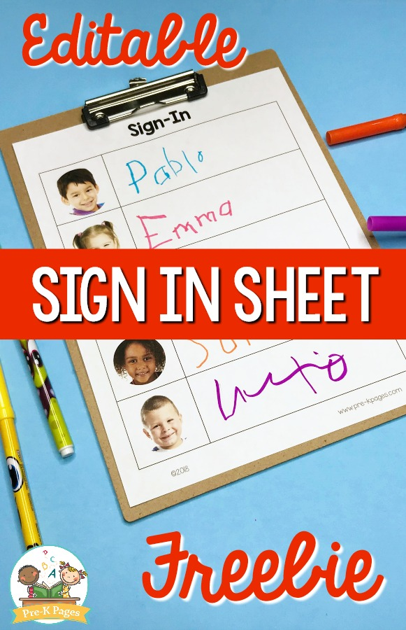 Preschool Sign in Sheet Freebie