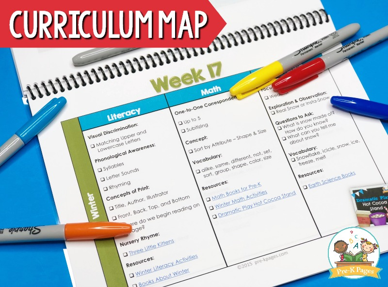 Printable Curriculum Map for Preschool
