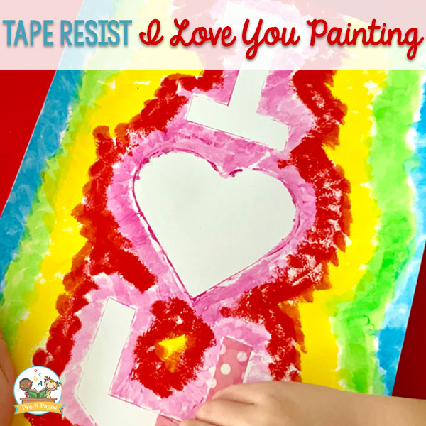 Tape Resist I Love You Painting