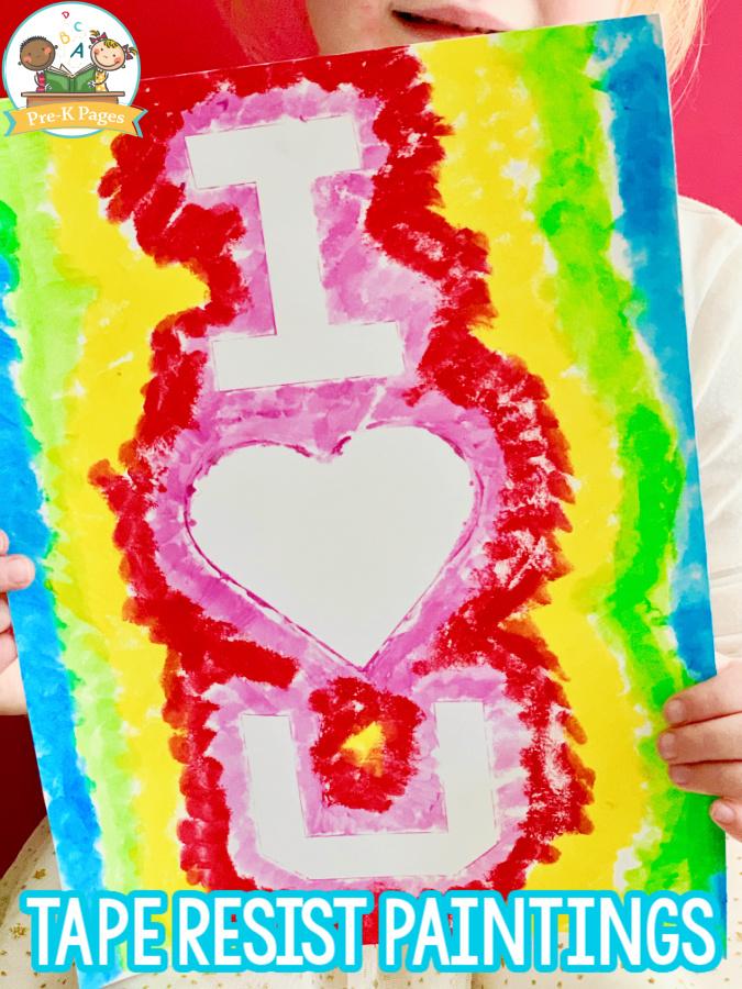 Tape Resist Painting for Preschoolers