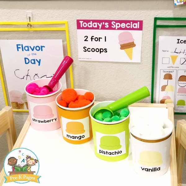 Tubs of Ice Cream labeled for pretend play