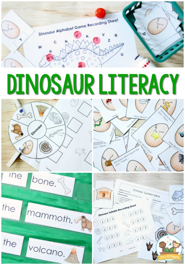 Dinosaur Literacy Activities for Preschool - Pre-K Pages