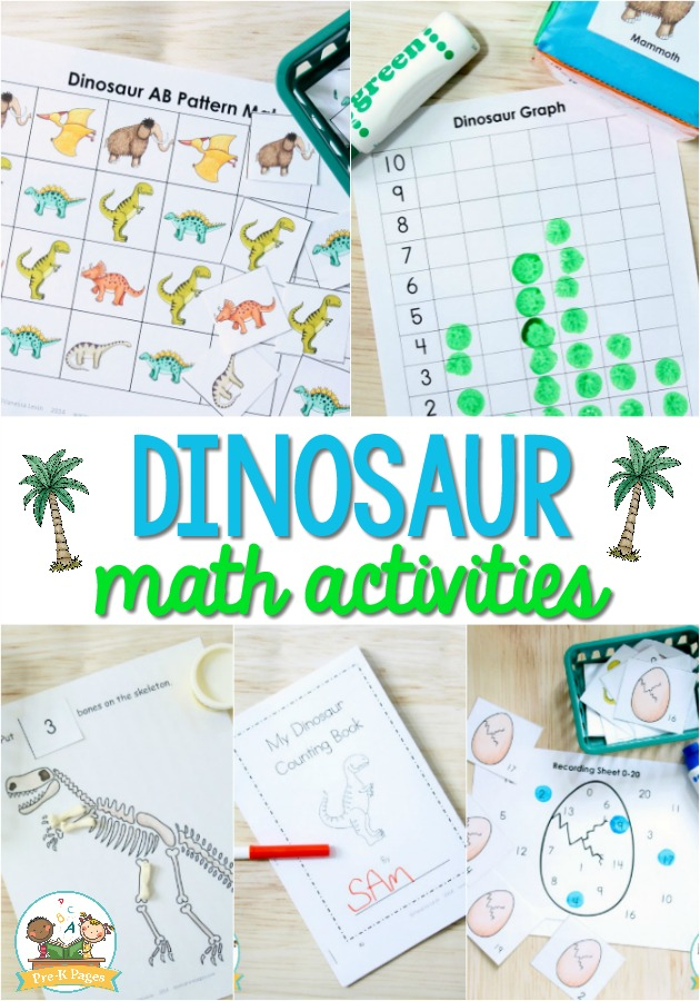 dinosaur math activities for preschool pre k pages. Black Bedroom Furniture Sets. Home Design Ideas