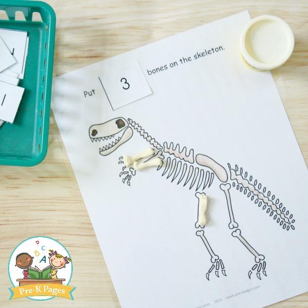 Dinosaur Theme Play Dough Counting Activity