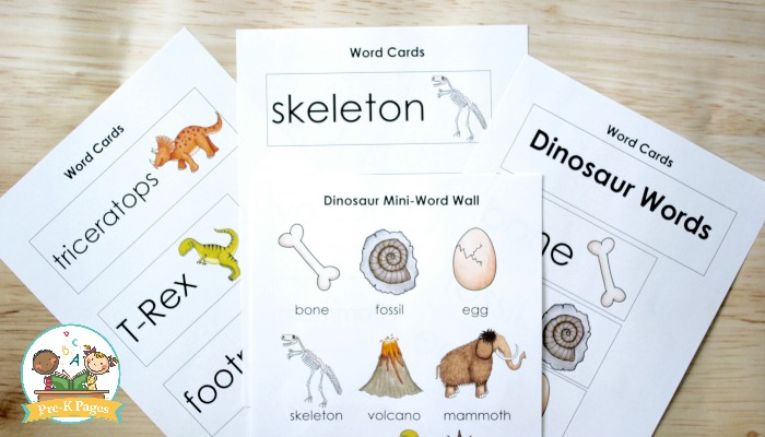 Dinosaur Word Cards for Preschool