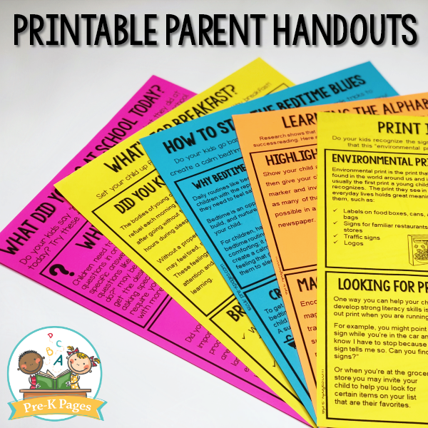 Editable Parent Handouts for Preschool