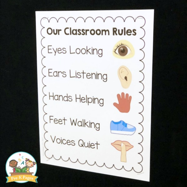 Printable Classroom Rules for Preschool